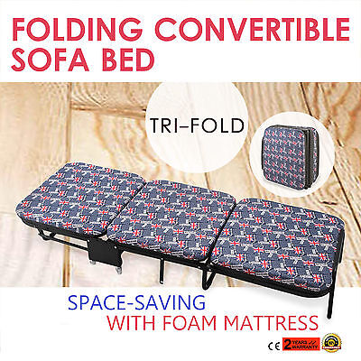 Folding Bed W/Mattress 180X65X25cm Bedroom Blue+Red Single 441LBS For Adults