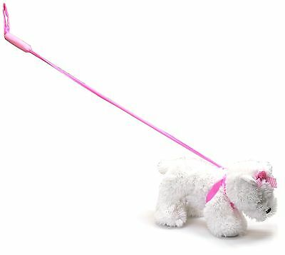 Loveable Plush Pet Dog Soft Toy On Lead ~ White Westie Terrier With Pink Bow