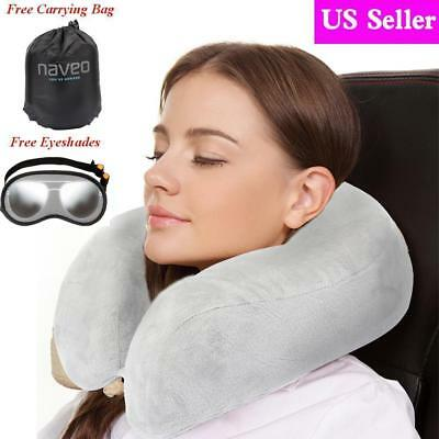 Naveo Memory Foam Neck Travel Pillow U Shaped With Sleep Mask Storage Bag 2Color