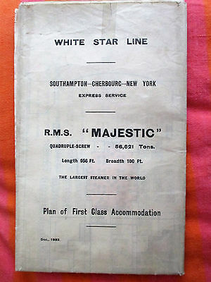 """WHITE STAR LINE R.M.S. """"MAJESTIC"""" PLAN OF 1st CLASS ACCOMMODATION. DEC., 1932"""