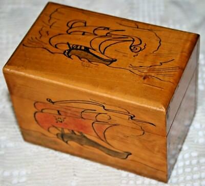 Cute Wooden Antique/Vintage Hand Painted Ship Letters Box Treen Wood Nautical