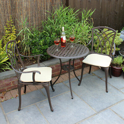 Charles Bentley Furniture 3 Piece Cast Aluminium Bistro Set Table & 2 Arm Chairs