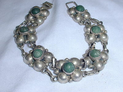 Beautiful! Mid Century Mexican Sterling Bracelet With Turquoise!