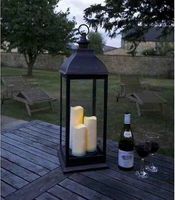 Smart Solar Giant Battery Powered Outdoor Garden Lanternwith Candles | Copper