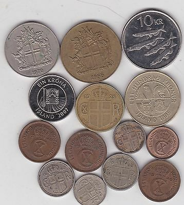 14 Coins From Iceland Dated 1925 To 2007 In Very Fine To Near Mint Condition