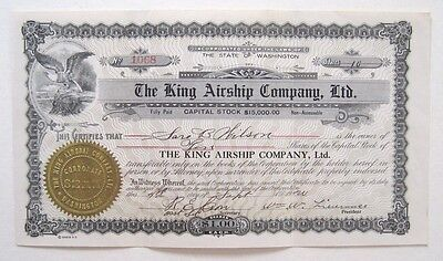King Airship Co Stock Certificate 1900 Early Aviation