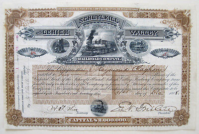 Schuylkill & Lehigh Valley Railroad Stock Certificate 1891