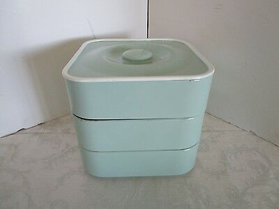 Vintage Sweden stacking aluminum metal Kitchen canister mint green Nils Johan 9""