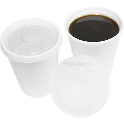 120 x Disposable Insulated 7oz Foam Polystyrene Tea Coffee Cups with Lids Cafe