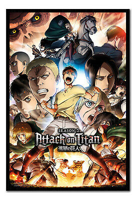 Framed Attack On Titan Season 2 Collage Poster New