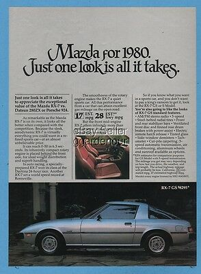 1980 Mazda RX-7 GS silver Just one look is all it takes vintage car photo ad