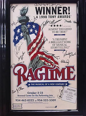 """RAGTIME The Musical of a New Century: SIGNED BY (20) CAST & CREW. Framed 14X 22"""""""