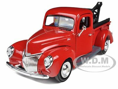 1940 Ford Pickup Tow Truck Red 1/24 Diecast Car Model Motormax 73234