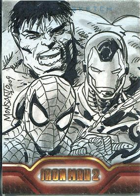 Marvel Iron Man 2 The Movie Sketch Card By Gilbert Monsanto