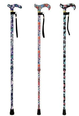 Aidapt Deluxe Height Adjustable Floral Patterned Walking Cane (Choose Colour)