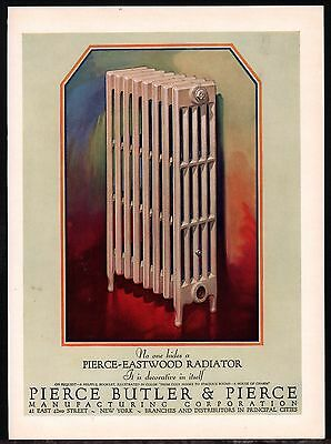 1928 PIERCE EASTWOOD Antique Radiator Home Heating PRINT AD Advertising Page