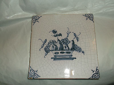 Antique Delft Tile FRUIT BOWL ARRANGEMENT  Blue and White