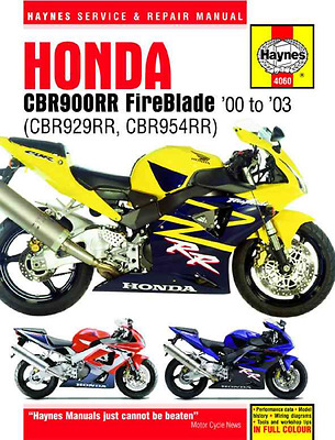 Honda FireBlade Haynes Manual CBR CBR900RR New 2000-2003 Service Repair