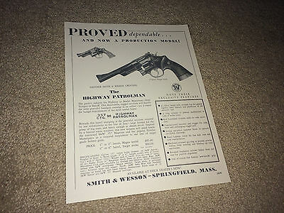 SMITH & WESSON 1950s Highway Patrolman 357 Magnum Vtg Advertising Sheet Revolver