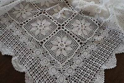 Vintage Crochet Lace Tablecloth Coverlet Raised Roses Scallops 96""