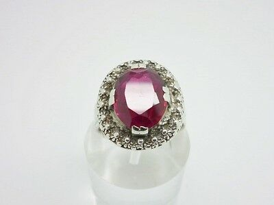Gorgeous Antique Art Deco 800 Solid Silver 4.3ct Ruby Cocktail Ring Size N 1/2