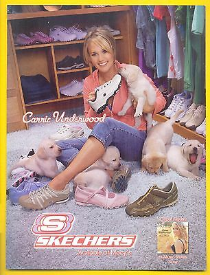 Carrie Underwood, Country Music Star in 2006 Skechers Shoes Magazine Ad, Puppies
