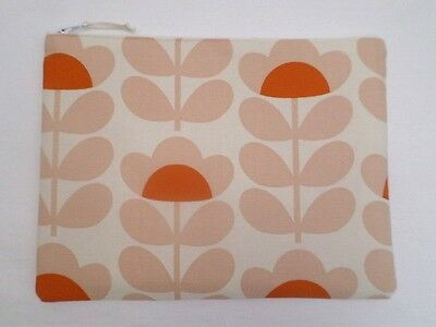 Handmade Large Make Up Bag Storage Pouch - Orla Kiely Orange Sweet Pea Fabric