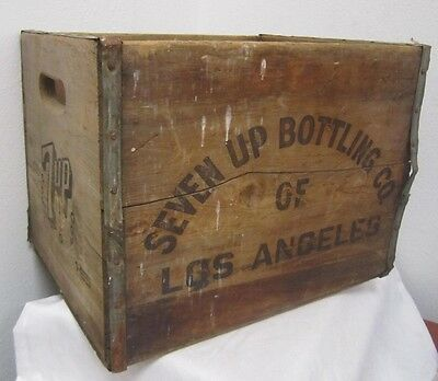 Vintage c. 1952 SEVEN UP BOTTLING COMPANY Los Angeles WOOD CRATE Box 7 UP 12x16*