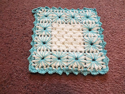 """Collectible Handmade Crocheted Embroidered Pot Holder White Turquoise 5"""" CUTE"""
