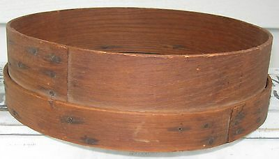 Antique Wood & Screen Flour Sifter Double Thick Wood Band & Nailed Overlap Seams