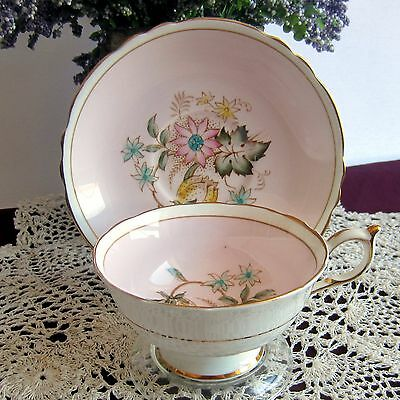 Paragon A706 Light Pink , Floral Center Wide Mouth Bone China Tea Cup and Saucer