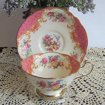 Paragon ROCKINGHAM Pink, Bird Center Wide Mouth Bone China Tea Cup and Saucer