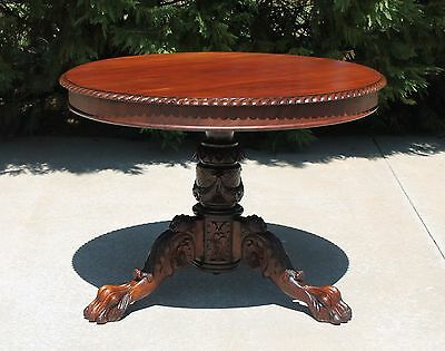 Empire Mahogany Round Parlor Center Table w Heavily Carved Pedestal & Paw Feet