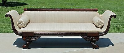 Mahogany American Classic Empire Sofa Hairy Paw Feet Carved Eagle Returns c1830