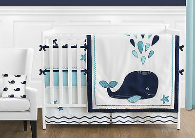 Sweet Jojo Modern Navy Turquoise Ocean Whales Baby Girls Boys Bedding Crib Set
