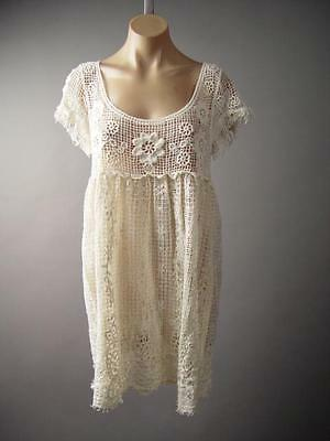 4d158882a5e Ivory Crochet Empire Waist Babydoll Boho Sheer Cover Up Tunic 229 mv Dress  S M