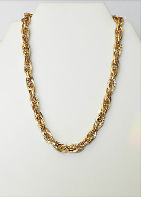 Eyecatching Vintage Double Chained Neckace In Yellow Gold Tone & Filigree Design