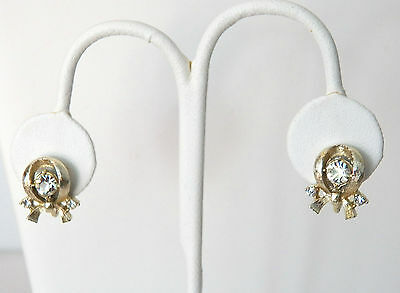 Perfect Pair Screw-On Earrings Ribbon Bow Type And Three Clear White Rhinestones