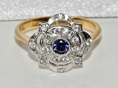 9ct Yellow Gold on Silver Blue Sapphire Art Deco Cluster Ring - size Q
