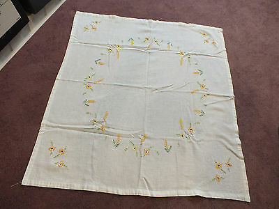 "Beautiful Tablecloth Embroidered Floral Orange Green Brown 32"" Square WoW"