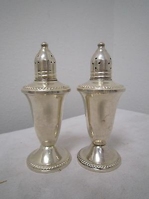 "Antique STERLING SILVER Duchin Creation Glass-Lined SALT & PEPPER SHAKERS 4""  *"