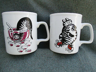 VINTAGE 1970s-1980s B. KLIBAN KAT COFFEE MUG CUP CHEERS SKATING CAT KILN CRAFT