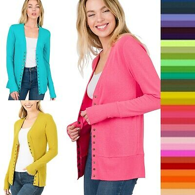 Women's Snap Button Sweater Cardigan with Ribbed Detail Neck Long Sleeve HW-2039