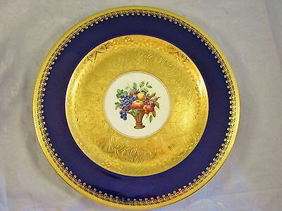 "Hutschenreuther Heavy Gold Encrusted Fruit Basket 10.75"" Plate"