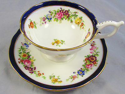 Coalport Cobalt Band Hand Painted Floral Tea Cup And Saucer