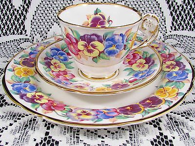 Royal Stafford Viola Flower Handle Pansy Trio Tea Cup And Saucer