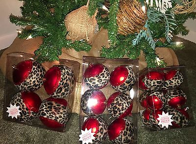 NEW Christmas Ornament Leopard Balls Lot 22 Assorted Red Faux Fur Shatter Proof