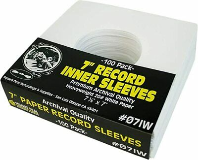 "(100) 07IW 7"" White Paper Record Inner Sleeves ACID FREE 45 RPM ARCHIVAL Covers"