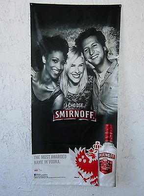 """Smirnoff Vodka People Smiling Flag Banner Man Cave Bar 28"""" x 58"""" In Great Cond"""