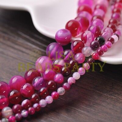 4mm/6mm/8mm/10mm Rose Round Agate Natural Gemstone Loose Stone Beads Lot